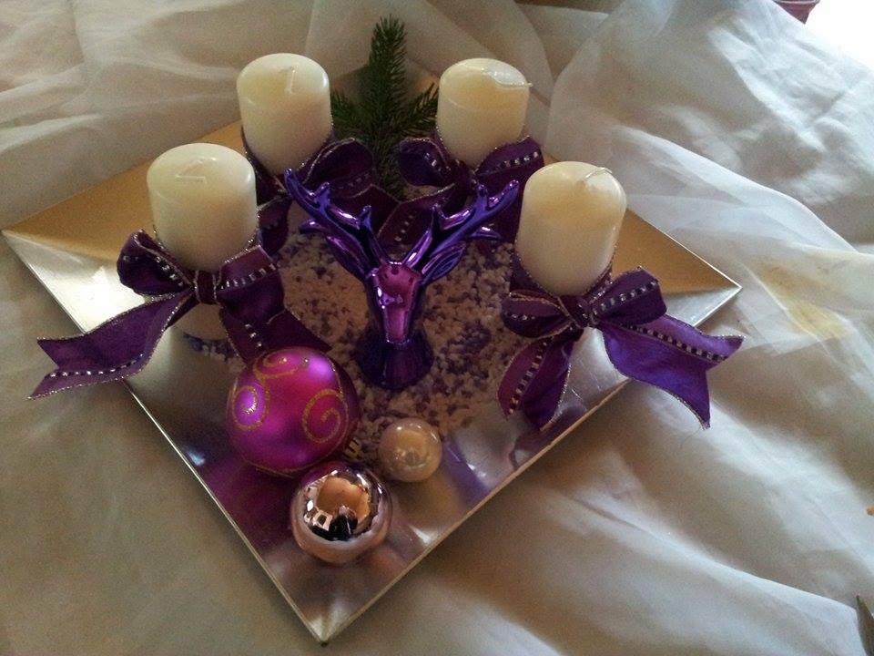 decorations by d fischer weihnachten adventsteller lila silber. Black Bedroom Furniture Sets. Home Design Ideas